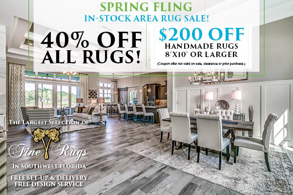 In-Stock area rugs 40% off!  $200 off hand made rugs 8'x10' or larger!
