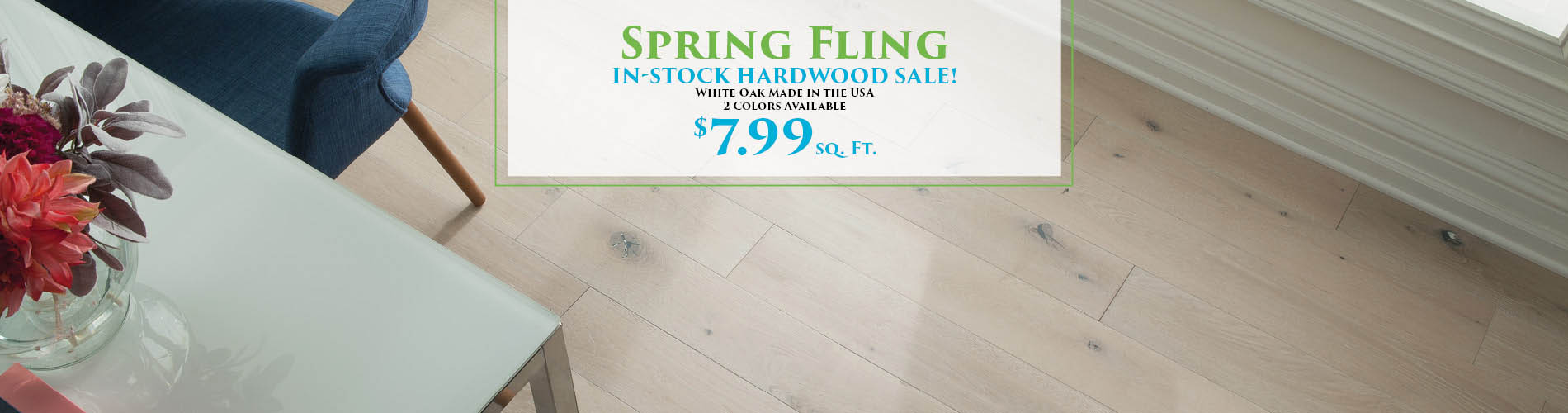 In-Stock White Oak hardwood on sale starting at $7.99!  2 colors available!