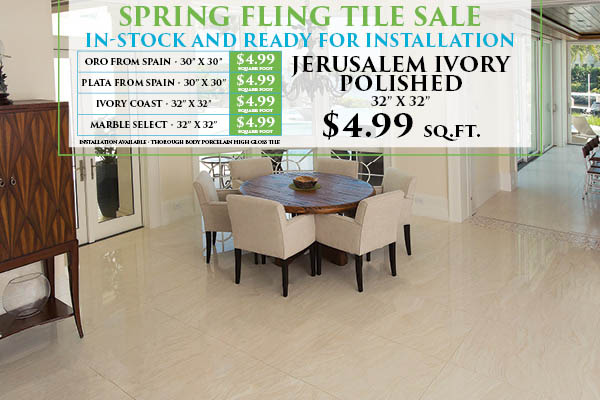 In-stock tile & stone on sale!  Only $4.99 sq.ft.